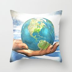 world in your hand Throw Pillow