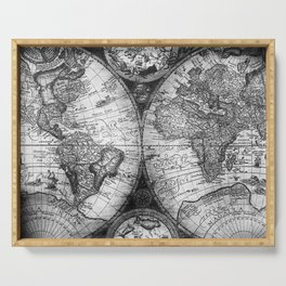 World Map Antique Vintage Black and White Serving Tray