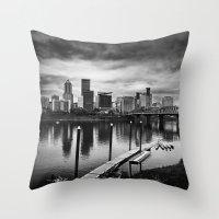 portlandia Throw Pillows featuring Dismal City by Danielle Denham