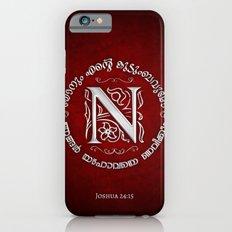 Joshua 24:15 - (Silver on Red) Monogram N iPhone 6s Slim Case