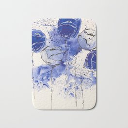 Blue and White Splotch Flowers Bath Mat