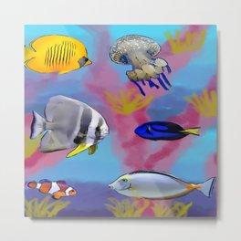 Colorful sea fish pattern Metal Print