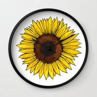 friday Wall Clocks featuring Friday by Virginia Skinner