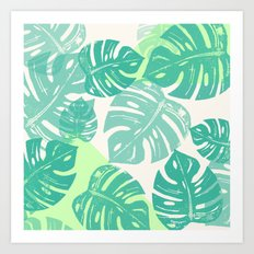 Linocut Monstera Green Art Print