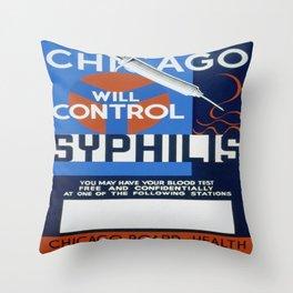 Vintage poster - Syphilis Throw Pillow