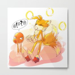 Tails and Q*bert Metal Print