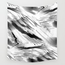 Modern Abstract - Black and White Wall Tapestry