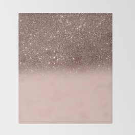 Rose Gold Glitter Ombre Throw Blanket