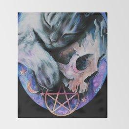 Magical Dark Kitty Throw Blanket