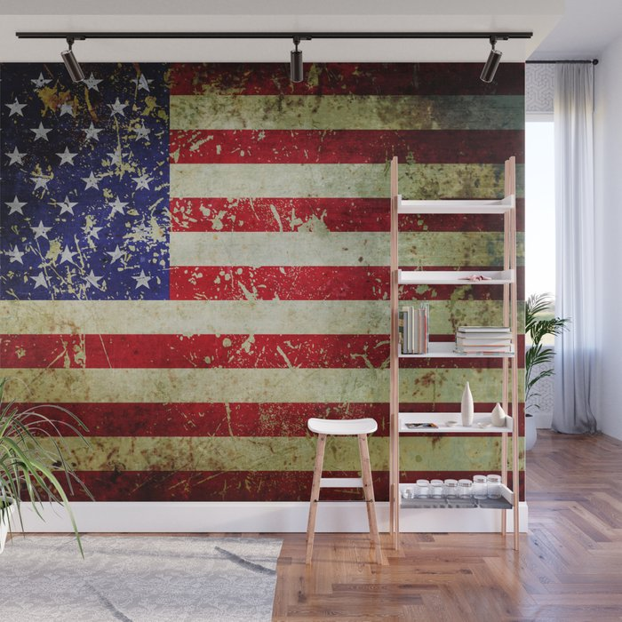 Grunge Vintage Aged American Flag Wall Mural By Itsjensworld