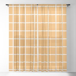 Light Orange Grid Pattern 2 Sheer Curtain