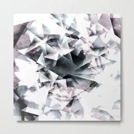 Modern Black and White Diamond Abstract Geometric Metal Print