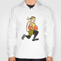 crossfit Hoodies featuring Crossfit Runner With Kettlebell Cartoon by patrimonio