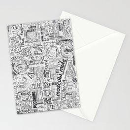 Drinks Full Tag Cloud Stationery Cards