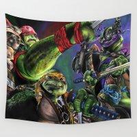 ninja turtles Wall Tapestries featuring Teenage Mutant Ninja Turtles by artbywilliam