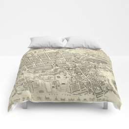 Vintage Map of Edinburgh Scotland (1844) Comforters
