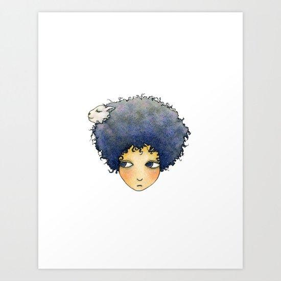 the girl with lamb hair Art Print