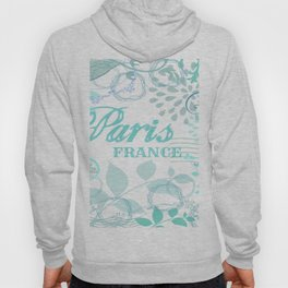Paris France Blue French Vintage Style Print Hoody