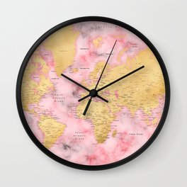 Gold and pink marble world map Wall Clock
