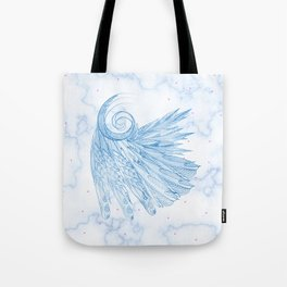 Beautiful Feathers on Blue Marble Design Tote Bag