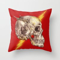 the flash Throw Pillows featuring Flash by Alan Maia