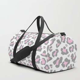 Pastel pink gray vector modern cheetah animal print Duffle Bag