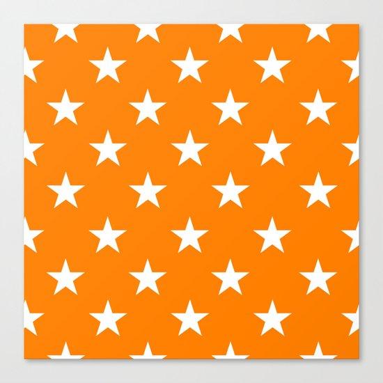 Stars (White/Orange) Canvas Print
