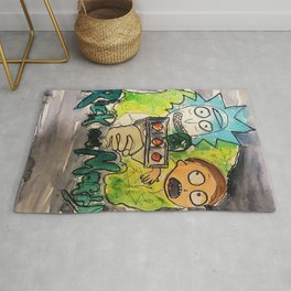 rick n mort,poster,tv,cartoon,painting,drawing,fan art,media,show,wall decor,original art,drawing,pr Rug