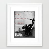 planet of the apes Framed Art Prints featuring Apes. Together. Strong. by Kory Hill