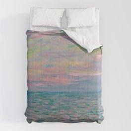 """Claude Monet """"Coucher de soleil à Pourville, pleine mer"""" Comforters"""