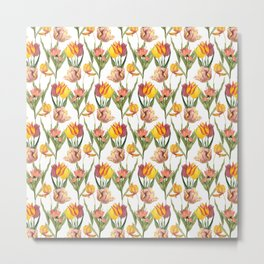 Vintage Floral Pattern | No. 3B | Tulips Metal Print