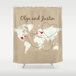 Personalized World Map Love Story Shower Curtain