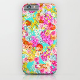 Bright Summer Vintage Inspired Floral Print on Turquoise   iPhone Case