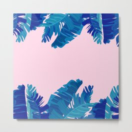 Hand painted navy blue blush pink watercolor tropical leaves Metal Print