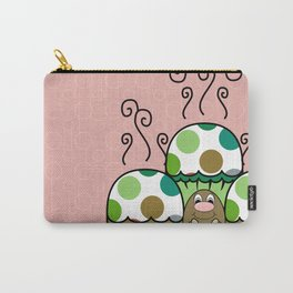 Cute Monster With Green And Brown Polkadot Cupcakes Carry-All Pouch