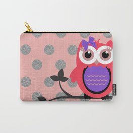 Owl with Hair Bow Silver Glittery Circles Carry-All Pouch