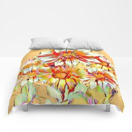 WHITE-RED FLOWER STILL LIFE CREAMY PASTELS Comforters