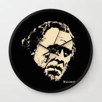 bukowski Wall Clocks featuring Bukowski#! by f_e_l_i_x_x