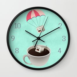 Sugar Cubes Jumping in a Cup of Coffee Wall Clock