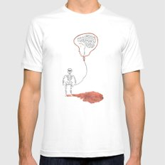 A Slow Unravel White Mens Fitted Tee MEDIUM