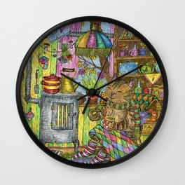 The cat sits in a rocking chair in a cozy house in autumn. Wall Clock