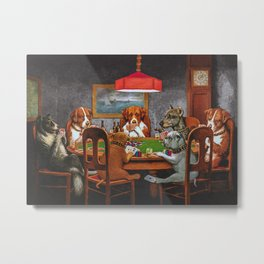 Dogs Playing Poker Metal Print