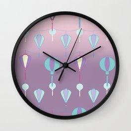 Japanese Lanterns // Graphic Print Wall Clock