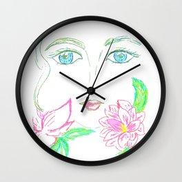 Grunge female face Wall Clock