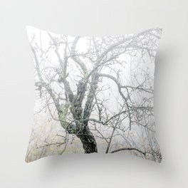 Naked tree surrounded by fog Throw Pillow