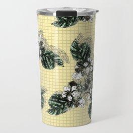 Bramble Flower on Yellow Mosaic Travel Mug