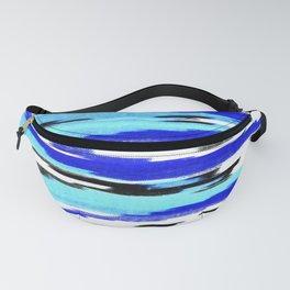 Modern black blue white ikat chevron pattern Fanny Pack