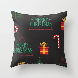 Merry Christmas wrapping paper Throw Pillow