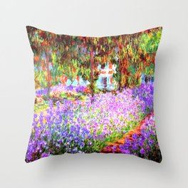 Monets Garden in Giverny Throw Pillow