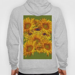 Avocado Color Sunflowers Abstract Art Hoody